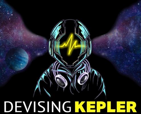 illustrazione Devising Kepler con scritta, uomo con casco spaziale, onda sonora sfondo stelle